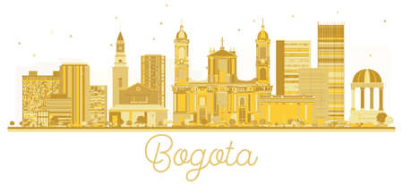 Bogota Colombia City skyline golden silhouette. Vector illustration. Business travel concept. Bogota Cityscape with landmarks.