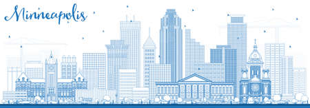 Outline Minneapolis Minnesota USA Skyline with Blue Buildings. Vector Illustration. Business Travel and Tourism Concept with Modern Architecture.  イラスト・ベクター素材
