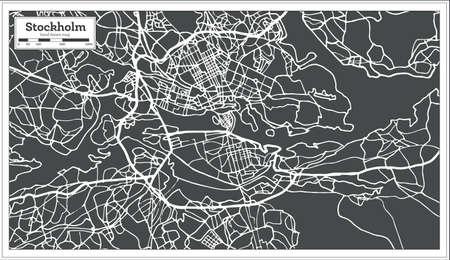 レトロなスタイルでストックホルムスウェーデン地図。ベクトルイラストレーション。アウトライン マップ。  イラスト・ベクター素材