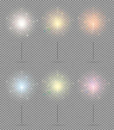 Bengal lights set. Christmas sparkle on transparent background, vector illustration.