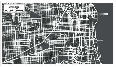Chicago Illinois USA Map in retro style, vector illustration. Ilustração