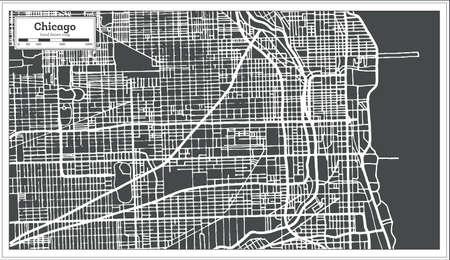 Chicago Illinois USA Map in retro style, vector illustration. Vettoriali