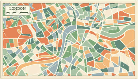 London England Map in abstract retro style, vector illustration.