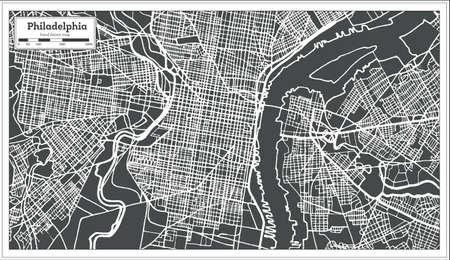 Philadelphia Pennsylvania USA Map in retro style, vector illustration.