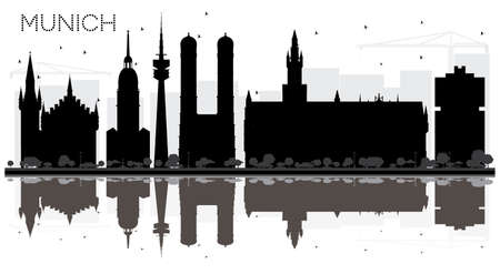 Munich Germany City skyline black and white silhouette with Reflections. Stock Illustratie
