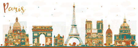 Paris France Skyline with Color Landmarks.
