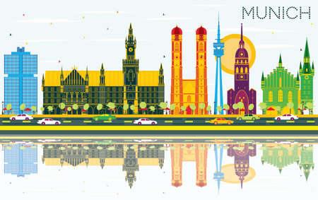 Munich Germany Skyline with Color Buildings, Blue Sky and Reflections. Vector Illustration. Business Travel and Tourism Concept with Historic Architecture. Munich Cityscape with Landmarks. Çizim