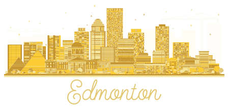 Edmonton Canada City skyline golden silhouette. Vector illustration. Simple flat concept for tourism presentation, banner, placard or web site. Business travel concept.
