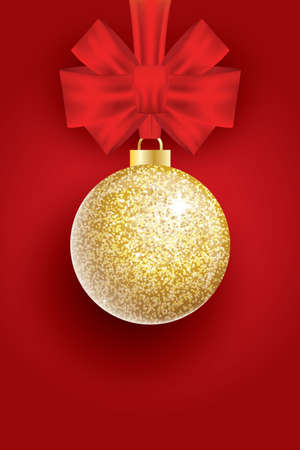 Christmas Golden Glitter Christmas Ball and Red Bow on Red Background. Vector Illustration.