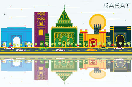Rabat Morocco Skyline with Color Buildings, Blue Sky and Reflections. Vector Illustration. Business Travel and Tourism Concept with Historic Architecture. Rabat Cityscape with Landmarks.
