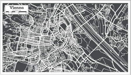 Vienna Austria Map in Retro Style. Vector Illustration. Outline Map.