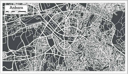 Ankara Turkey Map in Retro Style. Vector Illustration. Outline Map. Illustration