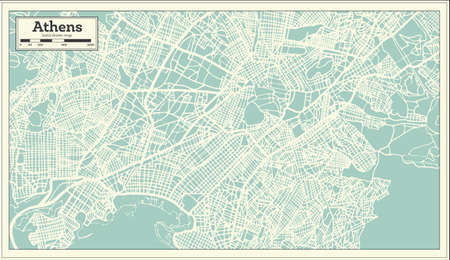 Athens Greece Map in Retro Style. Vector Illustration. Outline Map.