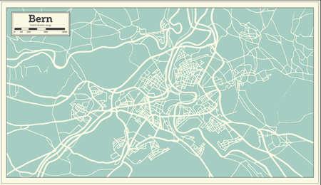 bern switzerland map in retro style vector illustration outline map stock vector