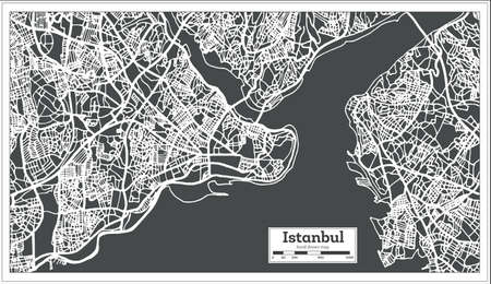 Istanbul Turkey Map in Retro Style. Vector Illustration. Outline Map.