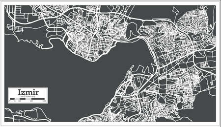 Izmir Turkey Map in Retro Style. Vector Illustration. Outline Map.