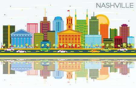 Nashville Skyline with Color Buildings, Blue Sky and Reflections. Vector Illustration. Business Travel and Tourism Concept with Modern Architecture. Image for Presentation Banner and Web Site. Illustration