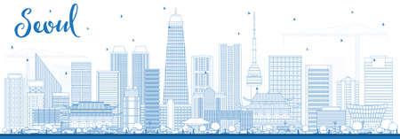 Outline Seoul chorea skyline with blue building.