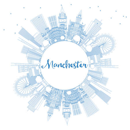 Outline Manchester England City Skyline with Blue Buildings and Copy Space. Vector Illustration. Business Travel and Tourism Concept with Modern Architecture. Manchester Cityscape with Landmarks.