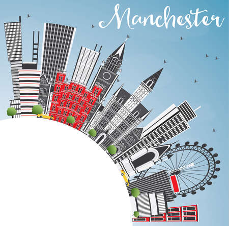 Manchester England City Skyline with Gray Buildings, Blue Sky and Copy Space. Vector Illustration. Business Travel and Tourism Concept with Modern Architecture. Manchester Cityscape with Landmarks.