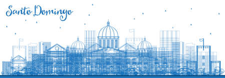 Outline Santo Domingo Dominican Republic City Skyline with Blue Buildings. Vector Illustration. Business Travel and Tourism Concept with Historic Architecture. Santo Domingo Cityscape with Landmarks.