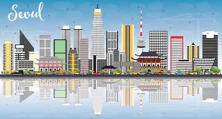 Seoul Korea skyline illustration.
