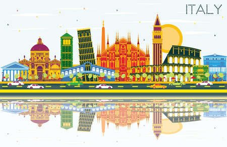 Italy City Skyline with Color Landmarks and Reflections. Vector Illustration. Business Travel and Tourism Concept with Historic Architecture. Image for Presentation Banner Placard and Web Site. Vettoriali