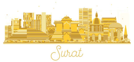 Surat India City skyline golden silhouette. Vector illustration. Simple flat concept for tourism presentation, banner, placard or web site. Cityscape with landmarks. Illustration
