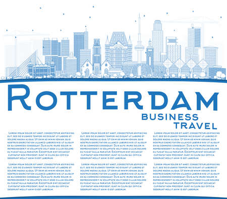 Outline Rotterdam Netherlands City Skyline with blue buildings.