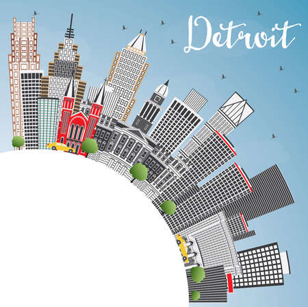 Detroit Michigan USA City Skyline with Gray Buildings, Blue Sky and Copy Space. Vector Illustration. Business Travel and Tourism Concept with Modern Architecture. Detroit Cityscape with Landmarks.