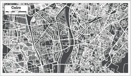 Cairo Egypt City Map in Retro Style. Vector Illustration. Outline Map.