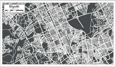 Riyadh Saudi Arabia City Map in Retro Style. Vector Illustration. Outline Map.
