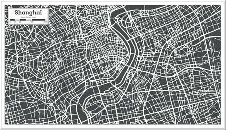Shanghai China City Map in Retro Style. Vector Illustration. Outline Map. 向量圖像