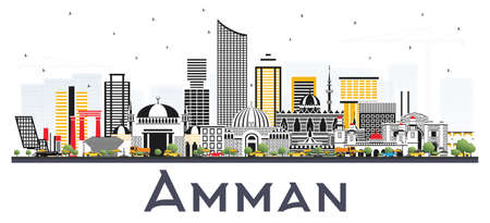 Amman Jordan City Skyline with Color Buildings Isolated on White Background. Vector Illustration. Business Travel and Tourism Concept with Modern Architecture. Amman Cityscape with Landmarks.