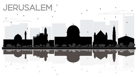 Jerusalem Israel City skyline black and white silhouette with Reflections. Vector illustration. Business travel concept. Jerusalem Cityscape with landmarks.  イラスト・ベクター素材