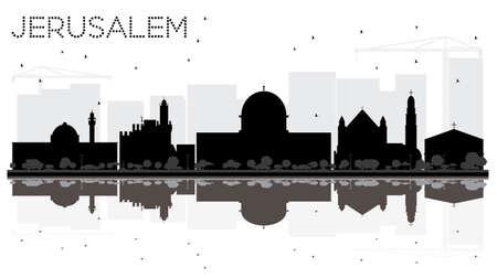 Jeruzalem Israel City skyline zwart-wit silhouet met reflecties. Vector illustratie Bedrijfs reisconcept. Jeruzalem stadsgezicht met bezienswaardigheden. Vector Illustratie