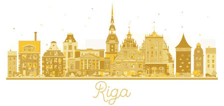 Riga Latvia City skyline golden silhouette. Vector illustration. Business travel concept. Cityscape with landmarks.