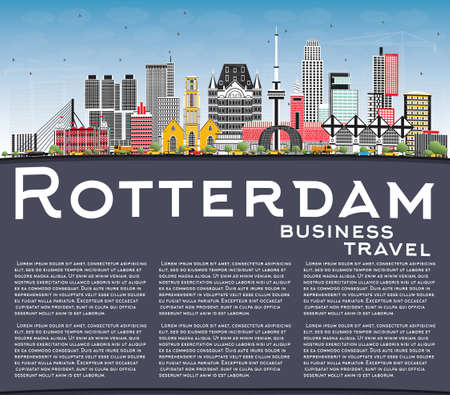 Rotterdam Netherlands City Skyline with Gray Buildings, Blue Sky and Copy Space. Vector Illustration. Business Travel and Tourism Concept with Modern Architecture. Rotterdam Cityscape with Landmarks.