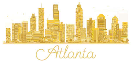 Atlanta USA City skyline golden silhouette.