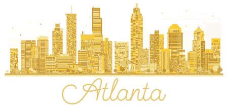 애틀랜타 미국 도시의 스카이 라인 황금 실루엣입니다.