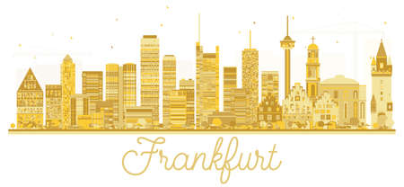Frankfurt Germany City skyline golden silhouette. Vector illustration. Business travel concept. Frankfurt Cityscape with landmarks.