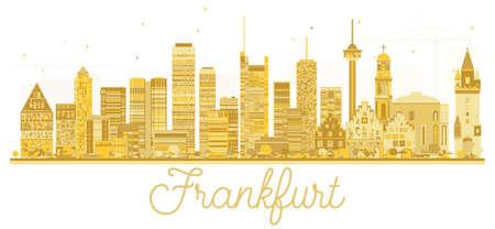 Frankfurt Germany City skyline golden silhouette. Vector illustration. Business travel concept. Frankfurt Cityscape with landmarks.