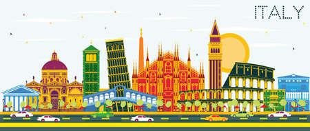 Skyline della città Italia con punti di riferimento di colore. Illustrazione vettoriale Concetto di viaggio d'affari e turismo con architettura storica. Immagine per presentazione Banner Placard e sito Web.