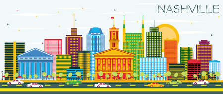 Nashville Skyline with Color Buildings and Blue Sky. Vector Illustration. Business Travel and Tourism Concept with Modern Architecture. Image for Presentation Banner Placard and Web Site. Illustration