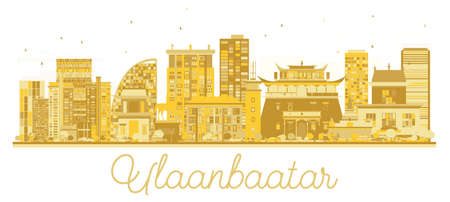 Ulaanbaatar Mongolia City skyline golden silhouette. Vector illustration. Simple flat concept for tourism presentation, banner, placard or web site. Ulaanbaatar Cityscape with landmarks.