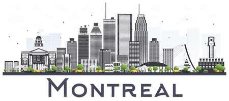 白い背景に隔離された灰色の建物を持つモントリオールカナダシティスカイライン。ベクトルイラストレーション。歴史的建築を用いたビジネスト