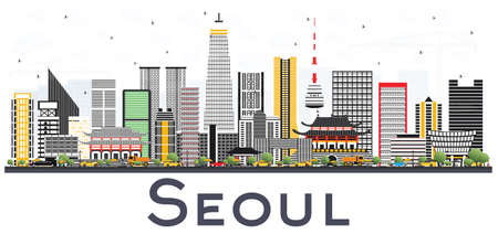 Seoul Korea City Skyline with Color Buildings Isolated on White Background. Vector Illustration. Business Travel and Tourism Concept with Modern Architecture. Seoul Cityscape with Landmarks. Illustration