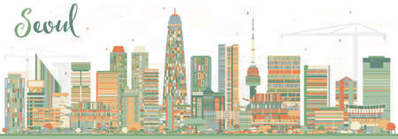 Seoul Korea City Skyline with Color Buildings. Vector Illustration. Business Travel and Tourism Concept with Modern Architecture. Seoul Cityscape with Landmarks. Vectores