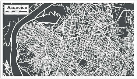 Asuncion Paraguay City Map in Retro Style. Outline Map. Vector Illustration. Illustration