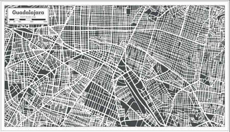 Guadalajara Mexico City Map in Retro Style. Outline Map. Vector Illustration.